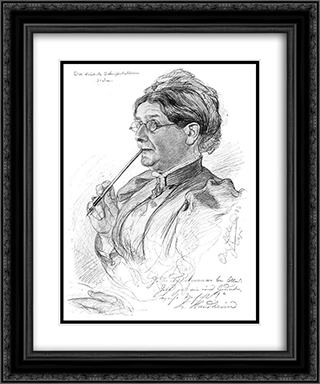 Portrait of Luise Haidheim 20x24 Black or Gold Ornate Framed and Double Matted Art Print by Christian Wilhelm Allers