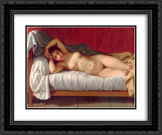 Lying Model in Bed 24x20 Black or Gold Ornate Framed and Double Matted Art Print by Christoffer Wilhelm Eckersberg