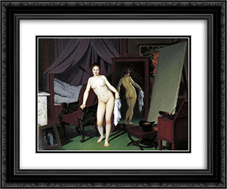 Model in the Studio 24x20 Black or Gold Ornate Framed and Double Matted Art Print by Christoffer Wilhelm Eckersberg