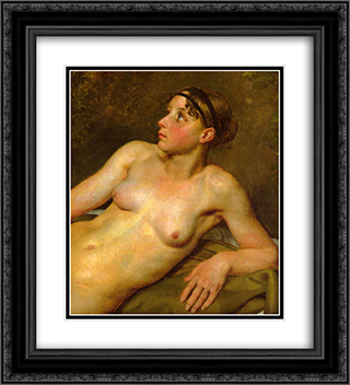 Nude Study 20x22 Black or Gold Ornate Framed and Double Matted Art Print by Christoffer Wilhelm Eckersberg