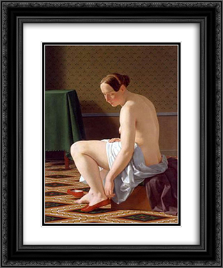 Nude Woman Putting On Her Slippers 20x24 Black or Gold Ornate Framed and Double Matted Art Print by Christoffer Wilhelm Eckersberg