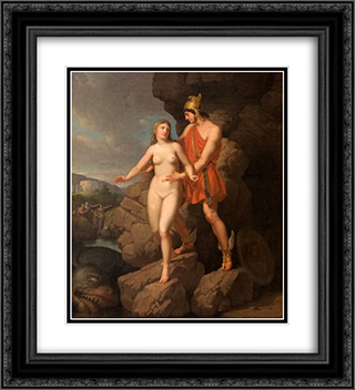 Perseus Delivering Andromeda 20x22 Black or Gold Ornate Framed and Double Matted Art Print by Christoffer Wilhelm Eckersberg