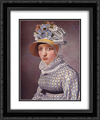 Portrait of Anna Maria Magnani 20x24 Black or Gold Ornate Framed and Double Matted Art Print by Christoffer Wilhelm Eckersberg