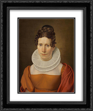 Portrait of Faktor Fjellerups Kone 20x24 Black or Gold Ornate Framed and Double Matted Art Print by Christoffer Wilhelm Eckersberg