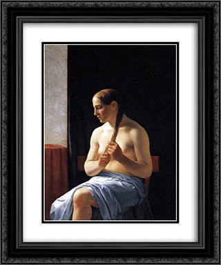 Seated Nude Model 20x24 Black or Gold Ornate Framed and Double Matted Art Print by Christoffer Wilhelm Eckersberg