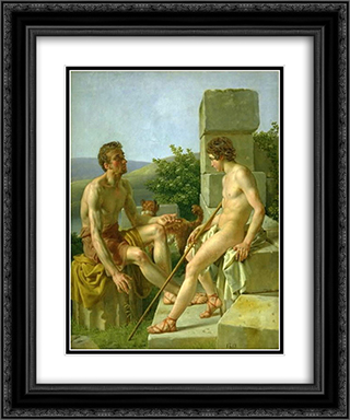 Sitting Young Man 20x24 Black or Gold Ornate Framed and Double Matted Art Print by Christoffer Wilhelm Eckersberg