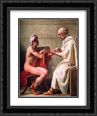 Socrates and Alcibiades 20x24 Black or Gold Ornate Framed and Double Matted Art Print by Christoffer Wilhelm Eckersberg