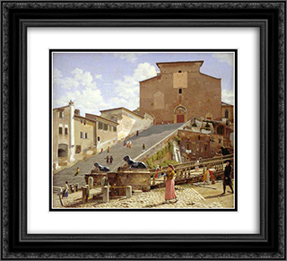 The marble staircase which leads up to S. Maria in Aracoeli in Rome 22x20 Black or Gold Ornate Framed and Double Matted Art Print by Christoffer Wilhelm Eckersberg