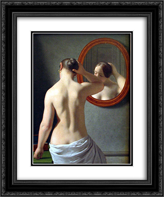 Woman Standing in Front of a Mirror 20x24 Black or Gold Ornate Framed and Double Matted Art Print by Christoffer Wilhelm Eckersberg