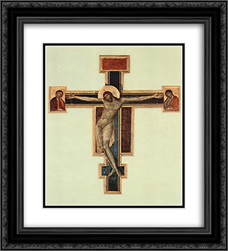 Crucifix 20x22 Black or Gold Ornate Framed and Double Matted Art Print by Cimabue