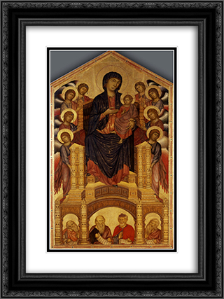 Madonna and Child Enthroned (Maesta) 18x24 Black or Gold Ornate Framed and Double Matted Art Print by Cimabue