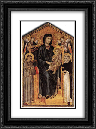 Madonna Enthroned with the Child, St. Francis, St. Domenico and two Angels 18x24 Black or Gold Ornate Framed and Double Matted Art Print by Cimabue