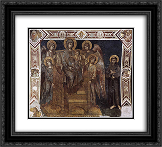 Madonna Enthroned with the Child, St. Francis and Four Angels 22x20 Black or Gold Ornate Framed and Double Matted Art Print by Cimabue