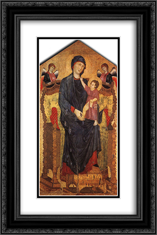 Madonna Enthroned with the Child and Two Angels 16x24 Black or Gold Ornate Framed and Double Matted Art Print by Cimabue
