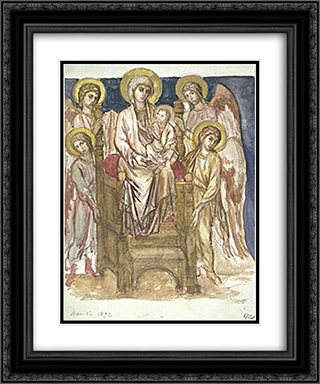 Madonna Enthroned with the Child with Angels 20x24 Black or Gold Ornate Framed and Double Matted Art Print by Cimabue