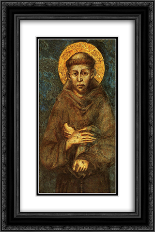 Saint Francis of Assisi (detail) 16x24 Black or Gold Ornate Framed and Double Matted Art Print by Cimabue