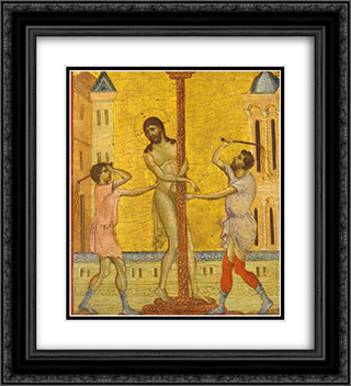 The Flagellation of Christ 20x22 Black or Gold Ornate Framed and Double Matted Art Print by Cimabue