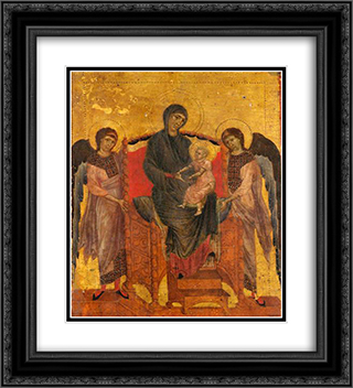 The Virgin and Child Enthroned with Two Angels 20x22 Black or Gold Ornate Framed and Double Matted Art Print by Cimabue