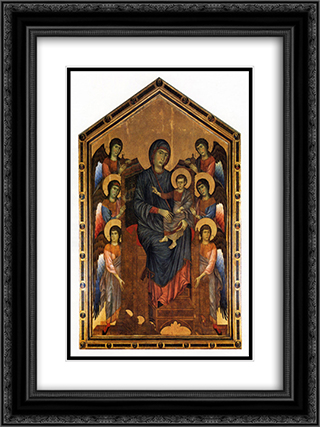 The Virgin and Child in Majesty surrounded by Six Angels 18x24 Black or Gold Ornate Framed and Double Matted Art Print by Cimabue