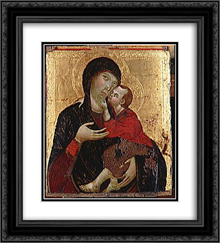 Virgin and Child  20x22 Black or Gold Ornate Framed and Double Matted Art Print by Cimabue