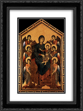 Virgin Enthroned with Angels 18x24 Black or Gold Ornate Framed and Double Matted Art Print by Cimabue