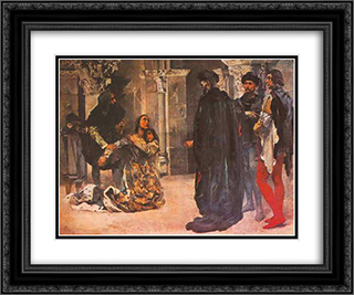 Assass­nio de Dona Ines de Castro 24x20 Black or Gold Ornate Framed and Double Matted Art Print by Columbano Bordalo Pinheiro