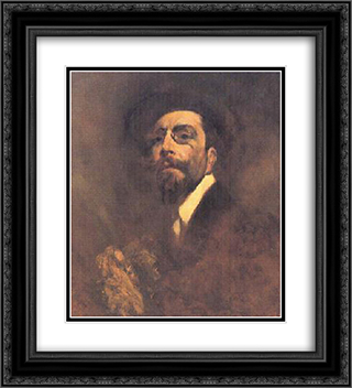 Auto-retrato 20x22 Black or Gold Ornate Framed and Double Matted Art Print by Columbano Bordalo Pinheiro