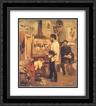 Columbano Bordalo Pinheiro in Atelier 20x22 Black or Gold Ornate Framed and Double Matted Art Print by Columbano Bordalo Pinheiro
