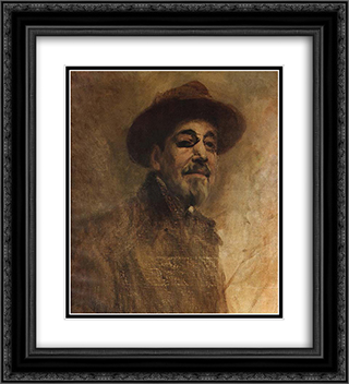 Self-portrait 20x22 Black or Gold Ornate Framed and Double Matted Art Print by Columbano Bordalo Pinheiro