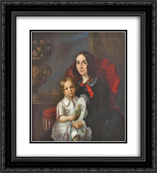 Anica Manu with her child 20x22 Black or Gold Ornate Framed and Double Matted Art Print by Constantin Daniel Rosenthal