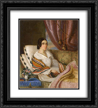 Convalescence 20x22 Black or Gold Ornate Framed and Double Matted Art Print by Constantin Daniel Rosenthal