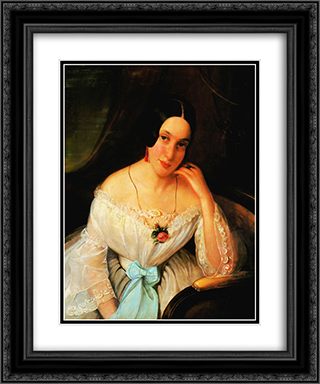 Portrait of a woman 20x24 Black or Gold Ornate Framed and Double Matted Art Print by Constantin Daniel Rosenthal