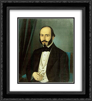 Portrait of Teodor Arion 20x22 Black or Gold Ornate Framed and Double Matted Art Print by Constantin Daniel Rosenthal