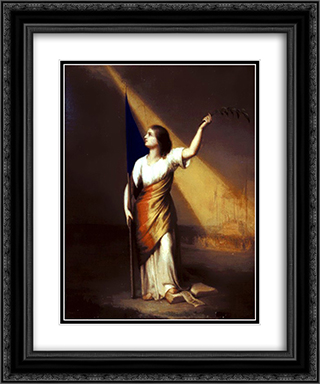 Romania Breaking off Her Chains on the Field of Liberty 20x24 Black or Gold Ornate Framed and Double Matted Art Print by Constantin Daniel Rosenthal