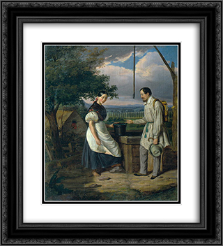 Scene at a Fountain 20x22 Black or Gold Ornate Framed and Double Matted Art Print by Constantin Daniel Rosenthal