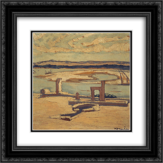 Aswan of the Nile 20x20 Black or Gold Ornate Framed and Double Matted Art Print by Constantine Maleas