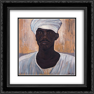 Black Man 20x20 Black or Gold Ornate Framed and Double Matted Art Print by Constantine Maleas