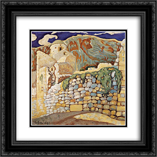 Castle at Monemvasia 20x20 Black or Gold Ornate Framed and Double Matted Art Print by Constantine Maleas