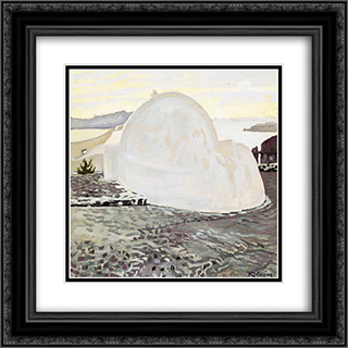 Church at Santorini 20x20 Black or Gold Ornate Framed and Double Matted Art Print by Constantine Maleas