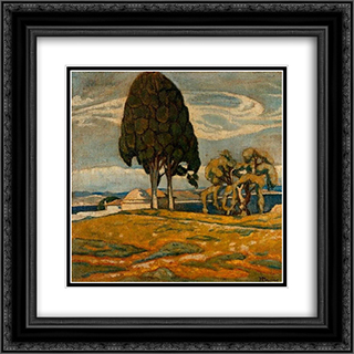 Church with trees 20x20 Black or Gold Ornate Framed and Double Matted Art Print by Constantine Maleas