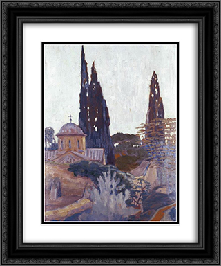 Church with Cypress 20x24 Black or Gold Ornate Framed and Double Matted Art Print by Constantine Maleas