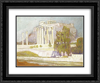 Columns 24x20 Black or Gold Ornate Framed and Double Matted Art Print by Constantine Maleas