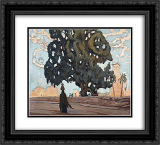 Egyptian Landscape 22x20 Black or Gold Ornate Framed and Double Matted Art Print by Constantine Maleas