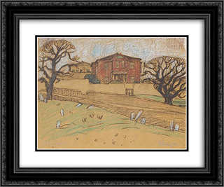 House at Lesvos 24x20 Black or Gold Ornate Framed and Double Matted Art Print by Constantine Maleas