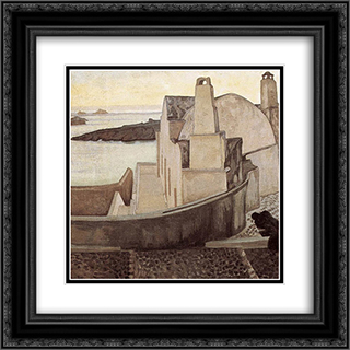 House at Santorini 20x20 Black or Gold Ornate Framed and Double Matted Art Print by Constantine Maleas