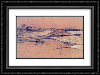 Landscape (sketch) 24x18 Black or Gold Ornate Framed and Double Matted Art Print by Constantine Maleas