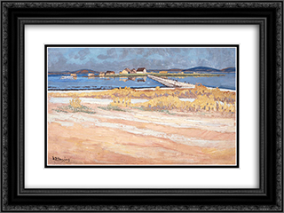 Landscape - Messolonghi Lagoon 24x18 Black or Gold Ornate Framed and Double Matted Art Print by Constantine Maleas