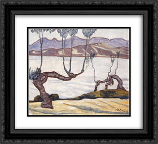Landscape of Aswan on the Nile 22x20 Black or Gold Ornate Framed and Double Matted Art Print by Constantine Maleas