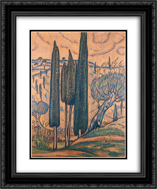 Landscape with cypresses 20x24 Black or Gold Ornate Framed and Double Matted Art Print by Constantine Maleas