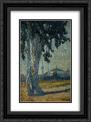 Landscape with tree and mosque in the background 18x24 Black or Gold Ornate Framed and Double Matted Art Print by Constantine Maleas